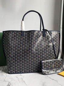 Goyard original calfskin&canvas reversible anjou tote gm bag GY0029 royal blue