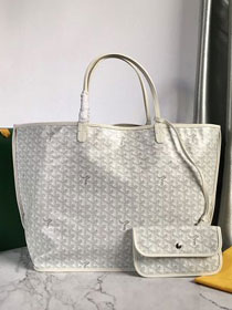 Goyard original calfskin&canvas reversible anjou tote gm bag GY0029 white