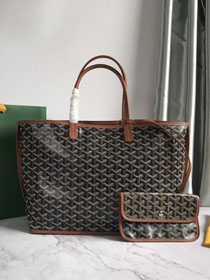 Goyard original calfskin&canvas reversible anjou tote pm bag GY0030 black&brown