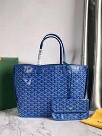 Goyard original calfskin&canvas reversible anjou tote pm bag GY0030 blue