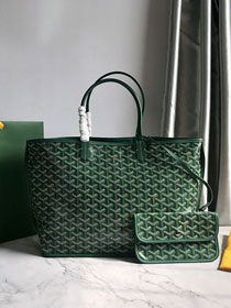 Goyard original calfskin&canvas reversible anjou tote pm bag GY0030 green