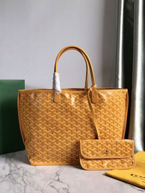 Goyard original calfskin&canvas reversible anjou tote pm bag GY0030 yellow