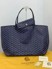 Goyard calfskin&canvas reversible anjou tote gm bag GY0023 royal blue