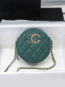 CC original grained calfskin clutch with chain AP1805 turquoise