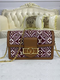 Louis vuitton original since 1854 textile dauphine chain wallet M69993 bordeaux