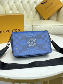 Louis vuitton original damier graphite studio messenger bag N50026 blue