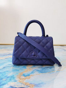 CC original grained calfskin coco top handle mini flap bag AS2215-2 blue