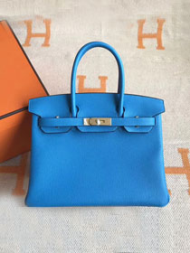 Hermes original togo leather birkin 30 bag H30-1 blue zanzibar