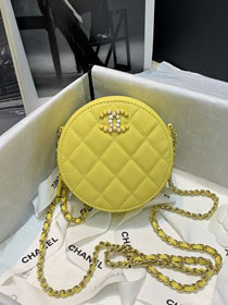 CC original grained calfskin clutch with chain AP2034 yellow