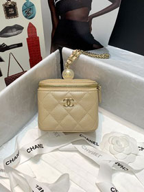 CC original grained calfskin small vanity with chain AP2161 apricot