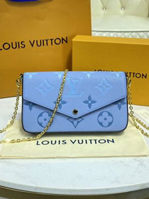 Louis vuitton original monogram calfskin felicie pochette M80498 blue