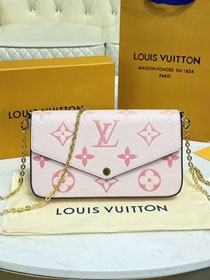 Louis vuitton original monogram calfskin felicie pochette M80498 light pink