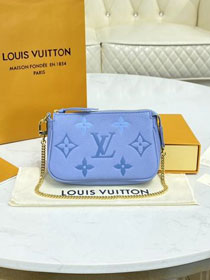 Louis vuitton original calfskin mini pochette M80502 blue