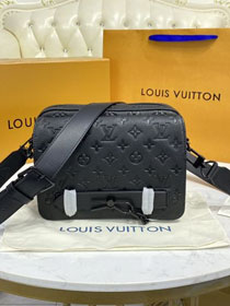 Louis vuitton original calfskin steamer messenger bag M57307 black