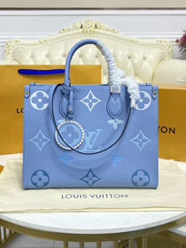2021 Louis vuitton original embossed calfskin onthego mm M45718 blue